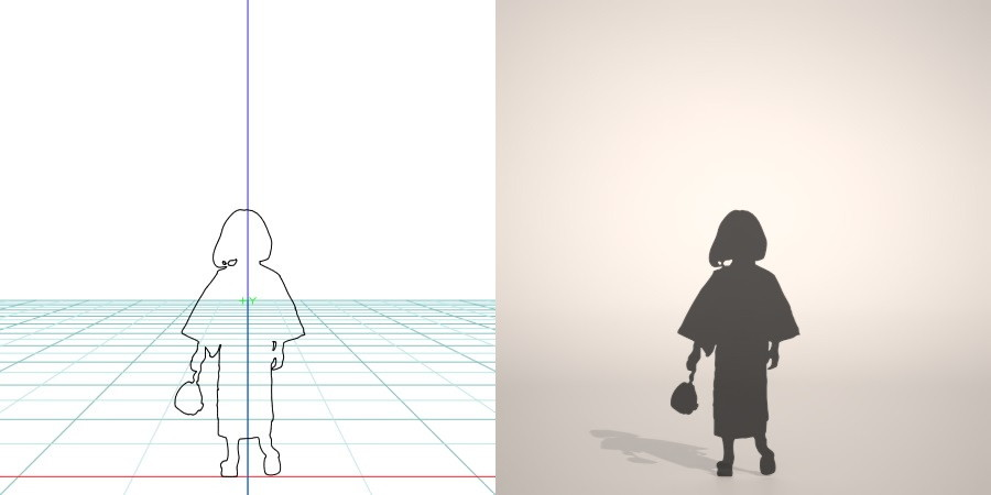 フリー素材 formZ 3D silhouette 子供 child 少女 girl 着物 和服 夏 祭り 浴衣を着た女の子のシルエット 巾着袋