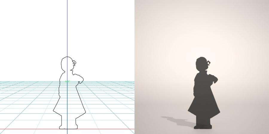 フリー素材 formZ 3D silhouette 子供 child 少女 girl 振り袖 和服 七五三 着物姿の女の子のシルエット