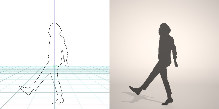 formZ 3D シルエット silhouette 女性 woman female lady スラックス slacks