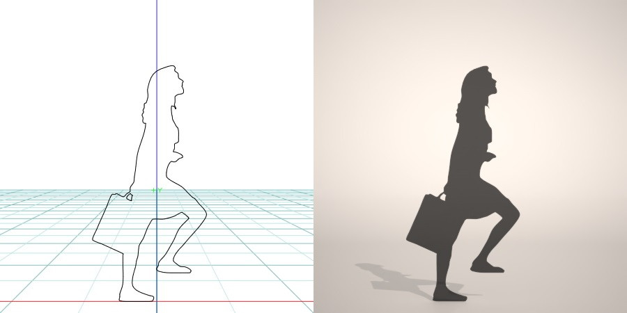 formZ 3D シルエット silhouette 女性 woman female lady 鞄 bag 階段を上る