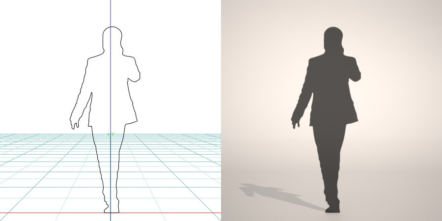 formZ 3D シルエット silhouette 男性 man ジャケット スーツ 背広 business suit 会社員 ビジネスマン businessman サラリーマン 携帯 電話 スマホ 歩く wakl