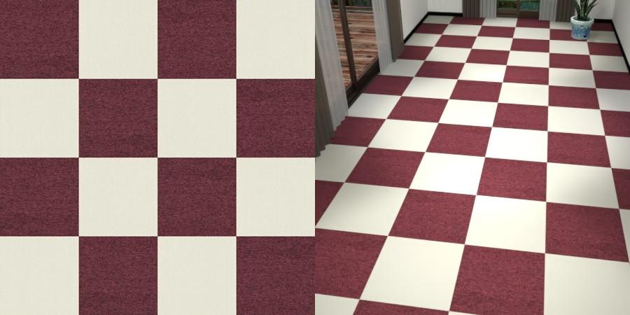 フリーデータ,2D,テクスチャー,texture,JPEG,タイルカーペット,tile,carpet,白色,しろ,ホワイト,white,紫色,パープル,purple,ワインレッド,あずき色,市松貼り,2色市松