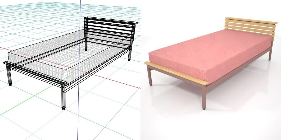 formZ 3D インテリア interior 家具 furniture ベッド bed シングル single