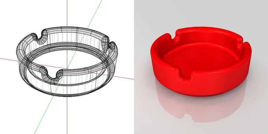 フリー素材 formZ 3D インテリア interior 雑貨 miscellaneous goods 灰皿 ashtray