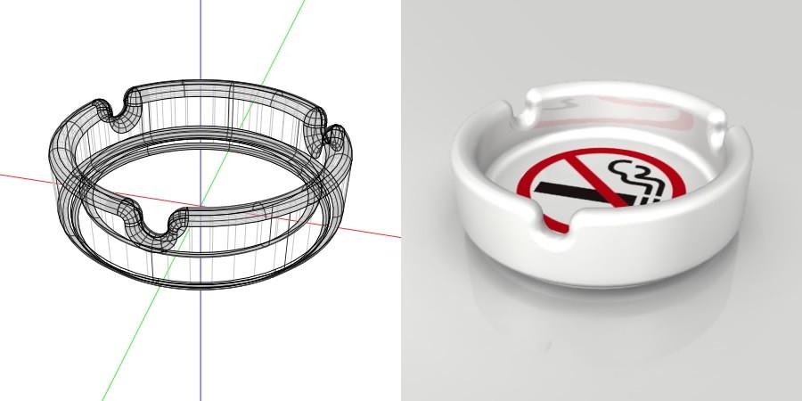 formZ 3D インテリア interior 雑貨 miscellaneous goods 禁煙マークがプリントされた 使っていいのかわからない灰皿 ashtray