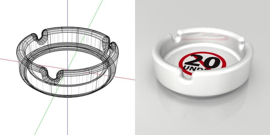 フリー素材 formZ 3D インテリア interior 雑貨 miscellaneous goods 20歳未満禁止のマークがプリントされた灰皿 ashtray