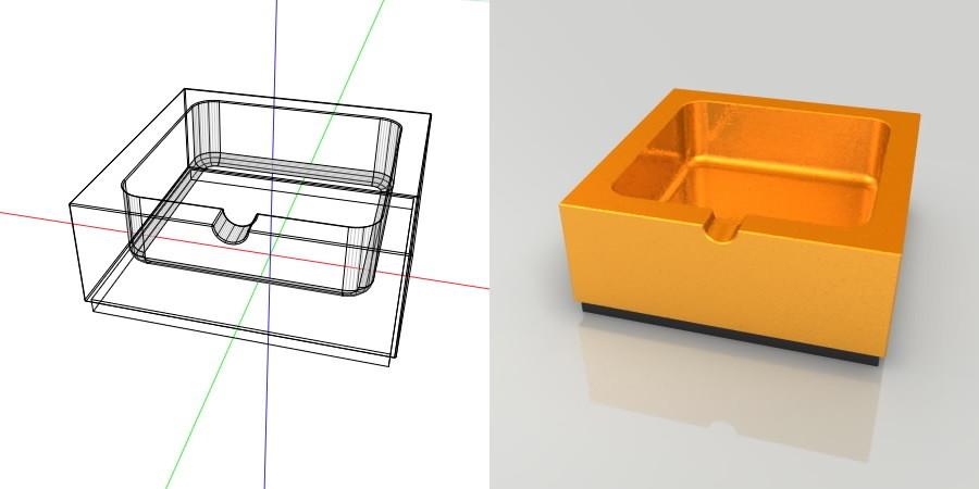 フリー素材 formZ 3D インテリア interior 雑貨 miscellaneous goods ゴールドの灰皿 ashtray