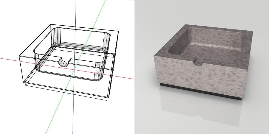 フリー素材 formZ 3D インテリア interior 雑貨 miscellaneous goods 鋳物の灰皿 ashtray