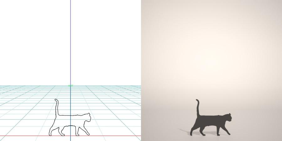 formZ 3D シルエット silhouette 動物 animal 猫 ねこ ネコ cat 【無料・商用可】3D CADデータ フリーダウンロードサイト丨digital-architex.com