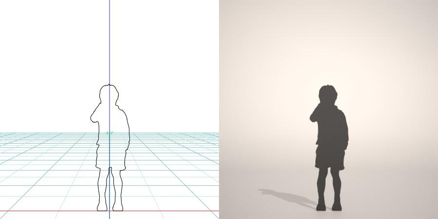 フリー素材 formZ 3D silhouette 子供 child 少年 boy 短パン 半ズボンを穿いた男の子のシルエット