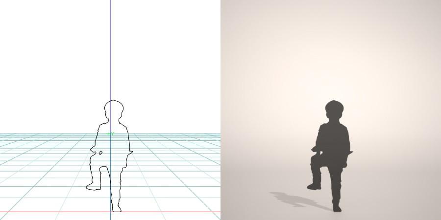 フリー素材 formZ 3D silhouette 子供 child 少年 boy marine cap 右足を台に乗せて立つマリンキャップをかぶった男の子のシルエット