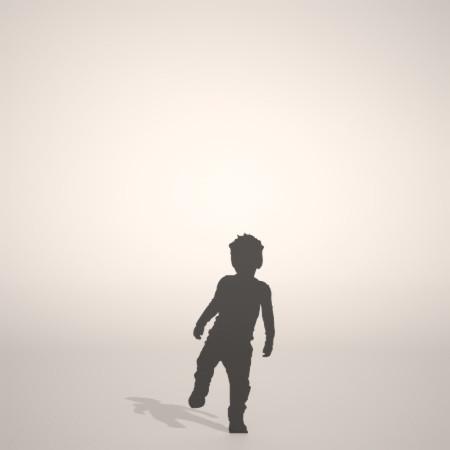 フリー素材 formZ 3D silhouette 子供 child 少年 boy 片足を上げて立つ男の子のシルエット