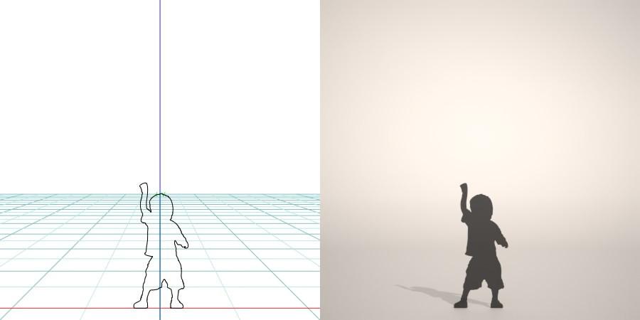 フリー素材 formZ 3D silhouette 子供 child 少年 boy 右手の拳をあげて喜ぶ男の子のシルエット