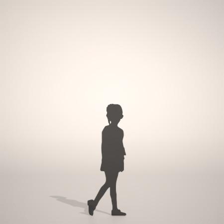 フリー素材 formZ 3D silhouette 子供 child 少女 girl 短パンを穿いたおさげ髪の女の子のシルエット