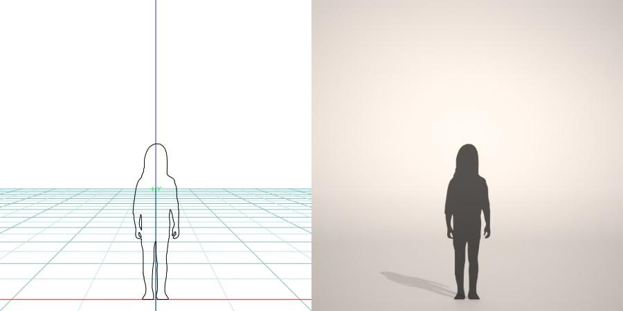 フリー素材 formZ 3D silhouette 子供 child 少女 girl skinny pantsスキニ―パンツを穿いた女の子のシルエット