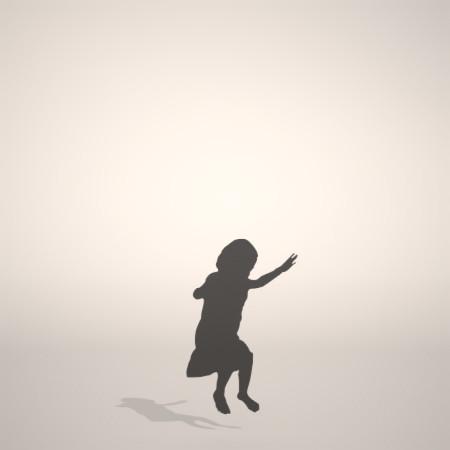 フリー素材 formZ 3D silhouette 子供 child 少女 girl スカート skirt 跳ぶ ジャンプ jump 飛び跳ねる女の子のシルエット