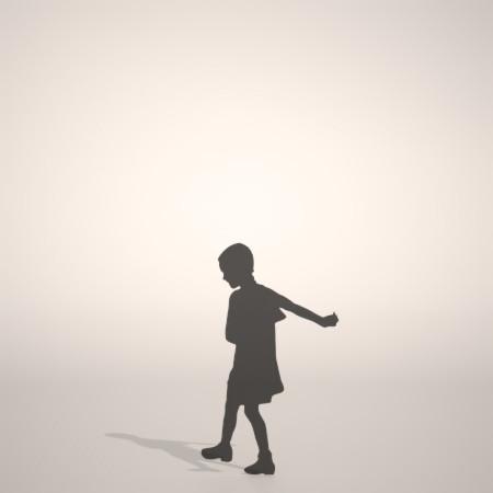 formZ 3D シルエット silhouette 子供 child 少女 girl ワンピース one-piece dress 歩く walk