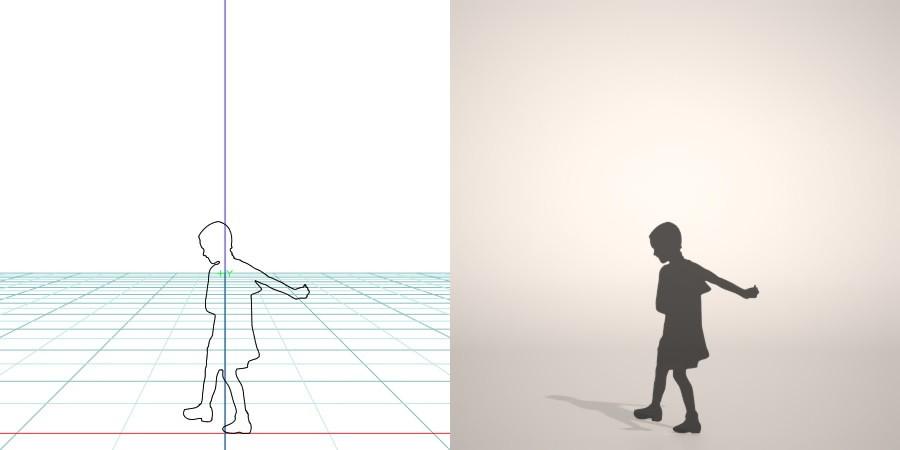フリー素材 formZ 3D シルエット silhouette 子供 child 少女 girl ワンピース one-piece dress 歩く walk