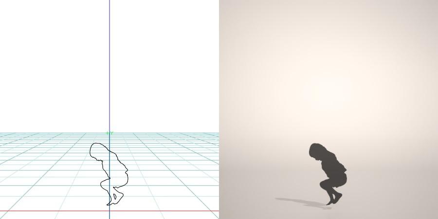 フリー素材 formZ 3D silhouette 子供 child 少年 boy 跳ぶ 跳ねる ジャンプ jump 飛び跳ねる男の子のシルエット