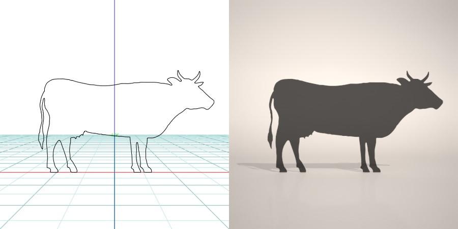 formZ 3D シルエット silhouette 動物 animal うし ウシ 牛 丑 ホルスタイン holstein 乳牛
