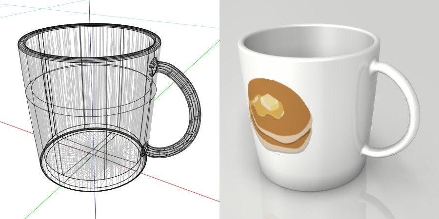 formZ 3D インテリア interior 食器 tableware cup マグカップ mug ホットケーキ パンケーキ pancake