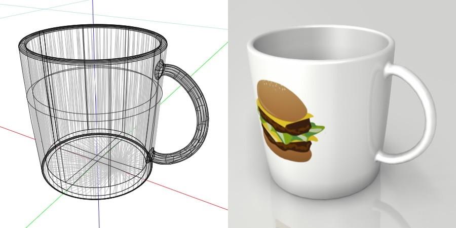 formZ 3D インテリア interior 食器 tableware cup マグカップ mug ハンバーガー hamburger