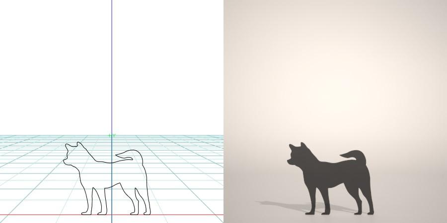 formZ 3D シルエット silhouette 動物 animal 犬 いぬ イヌ dog 柴犬 【無料・商用可】3D CADデータ フリーダウンロードサイト丨digital-architex.com