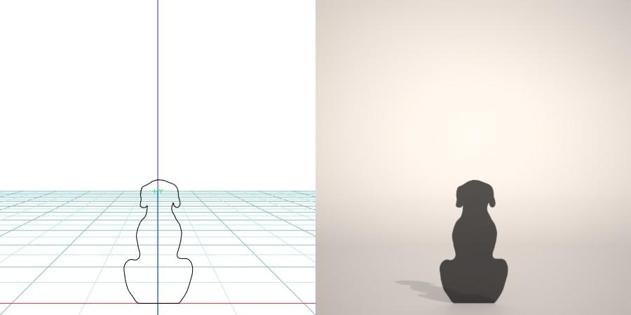 formZ 3D シルエット silhouette 動物 animal 犬 いぬ イヌ dog お座り