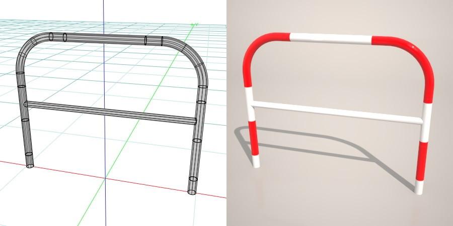 formZ 3D 道路 車両用防護柵 ガードフェンス ガードパイプ 赤 白 road guard pipe fence