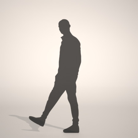 formZ 3D silhouette man ポケットに手を入れたスウェットパンツを着た男性のシルエット