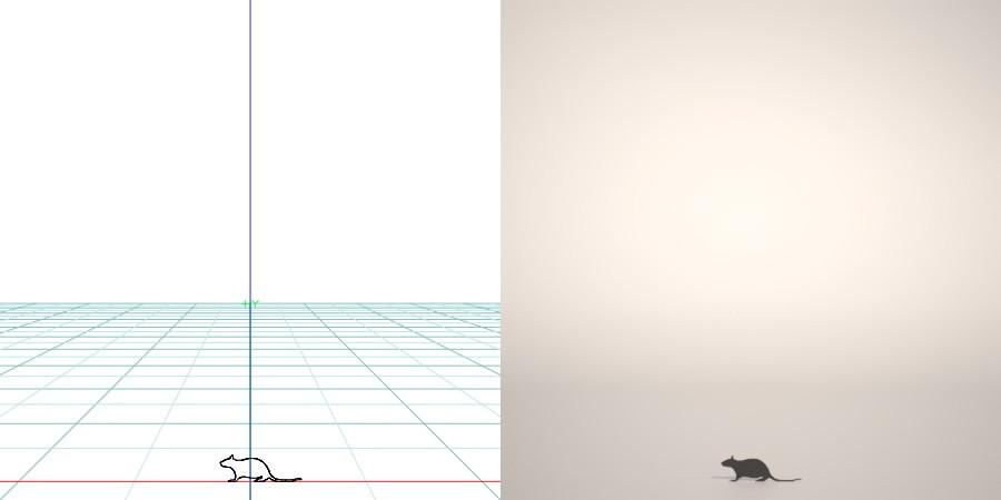 formZ 3D シルエット silhouette 動物 animal ネズミ 鼠 ねずみ マウス mouse