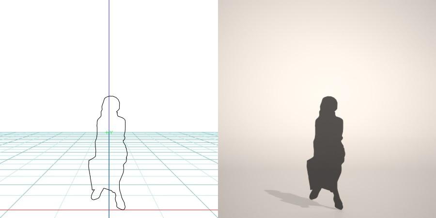 formZ 3D シルエット silhouette 女性 woman female lady スカート skirt パンプス pumps ハイヒール 脚を組む 脚組 座る sit