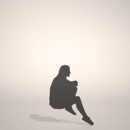 formZ 3D シルエット silhouette 女性 woman female lady 座る sit