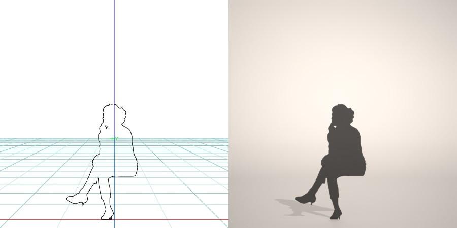 formZ 3D シルエット silhouette 女性 woman female lady サブリナパンツ sabrina pants パンプス pumps 脚を組む 脚組 座る sit