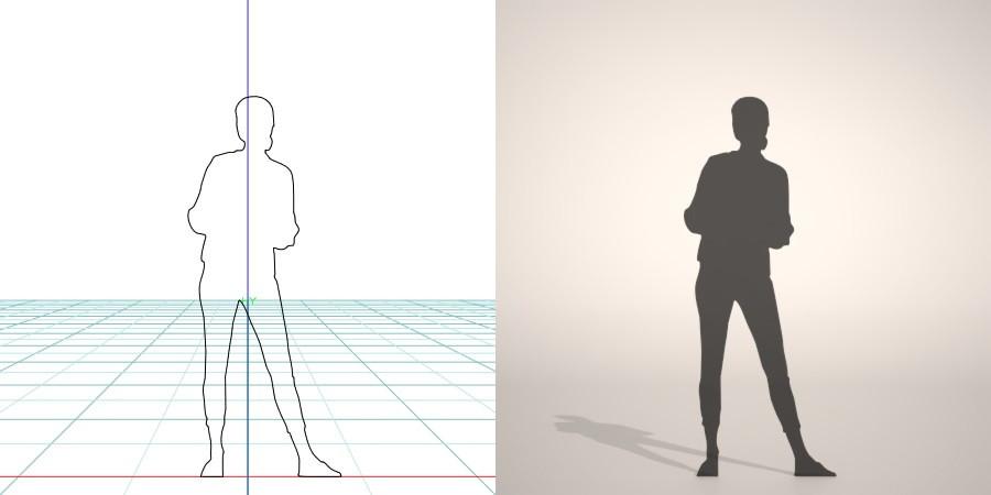 formZ 3D シルエット silhouette 女性 woman female lady スキニーパンツ skinny pants