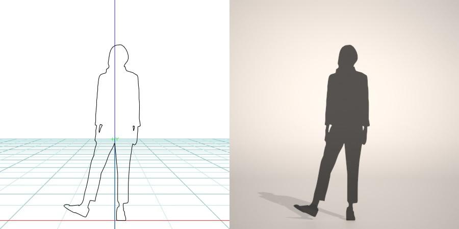 formZ 3D silhouette woman female lady クロップドパンツを穿いた女性のシルエット
