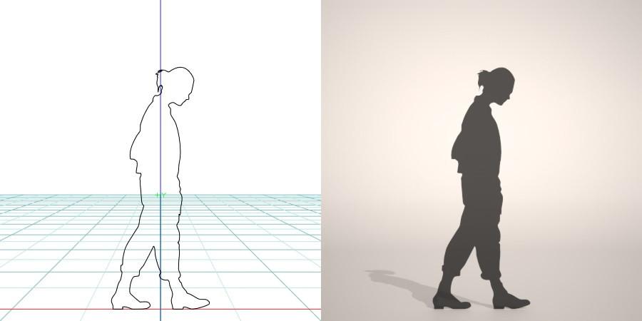 formZ 3D silhouette woman female lady walk ポケットに手を入れて歩く女性のシルエット