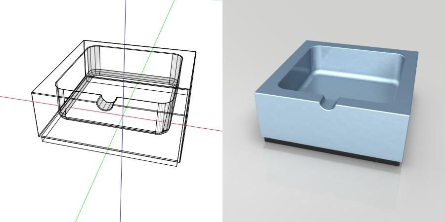 フリー素材 formZ 3D インテリア interior 雑貨 miscellaneous goods 青い金属の灰皿 ashtray