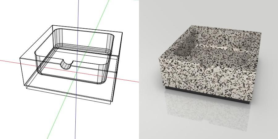 フリー素材 formZ 3D インテリア interior 雑貨 miscellaneous goods 模様のある石の灰皿 ashtray
