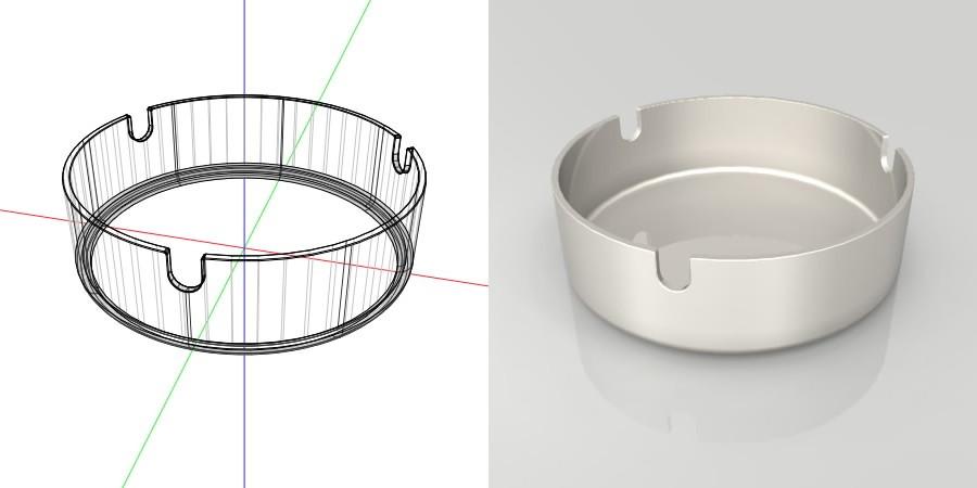 フリー素材 formZ 3D インテリア interior 雑貨 miscellaneous goods シルバーの灰皿 ashtray