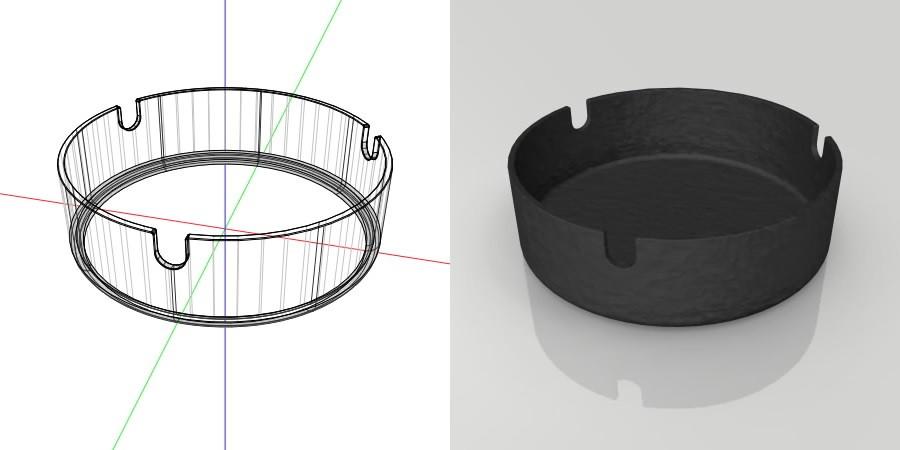 フリー素材 formZ 3D インテリア interior 雑貨 miscellaneous goods 黒い鋳物の灰皿 ashtray
