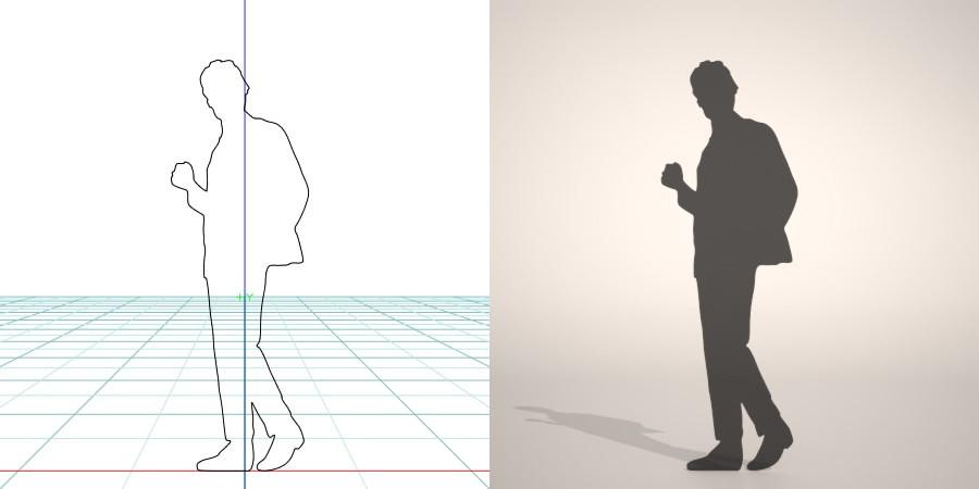 formZ 3D シルエット silhouette man ジャケット 背広 business suit 会社員 ビジネスマン businessman サラリーマン 右手で小さくガッツポーズをとるスーツを着た男性