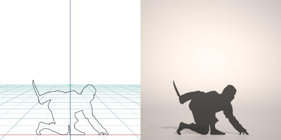 フリー素材 formZ 3D silhouette man ninja 短刀をもって忍び寄る忍者のシルエット