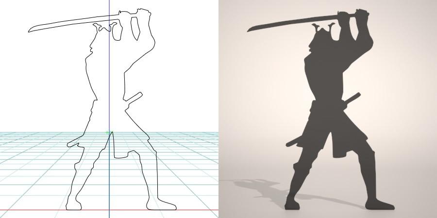 フリー素材 formZ 3D silhouette man 侍 士 さむらい samurai 武士 日本刀を構える甲冑を着たサムライのシルエット
