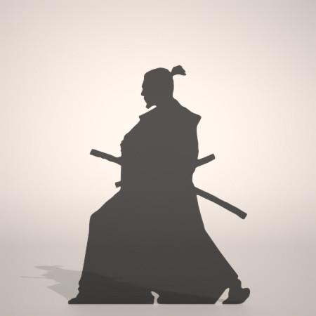 formZ 3D silhouette man 侍 士 さむらい samurai 武士 日本刀 サムライの居合の構えのシルエット
