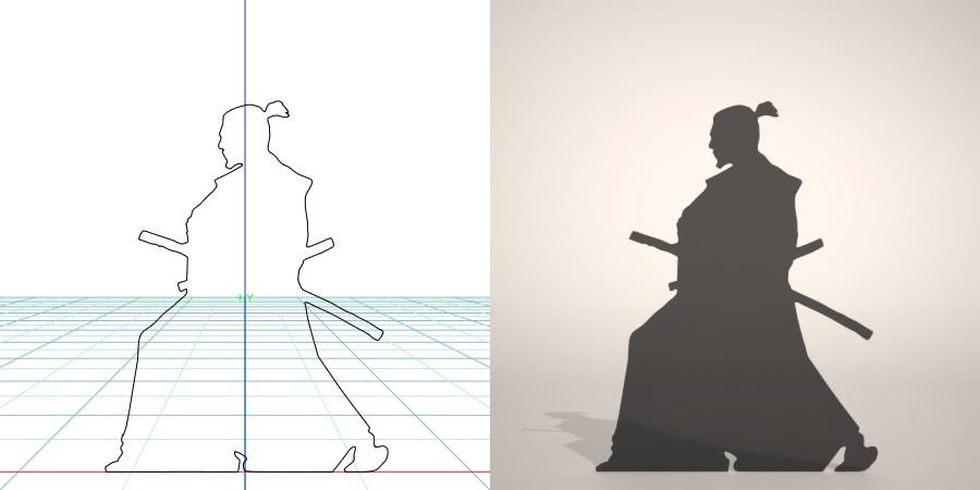 フリー素材 formZ 3D silhouette man 侍 士 さむらい samurai 武士 日本刀 サムライの居合の構えのシルエット