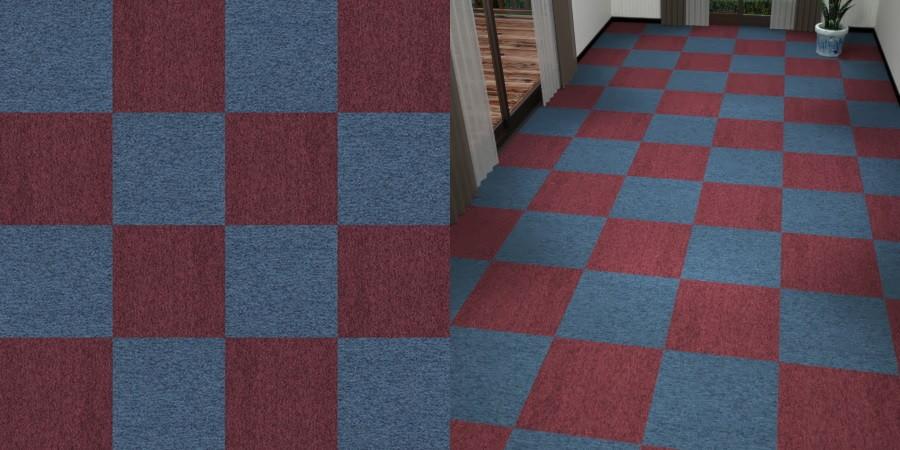 フリーデータ,2D,テクスチャー,texture,JPEG,タイルカーペット,tile,carpet,紫色,パープル,purple,ワインレッド,あずき色,青,ブルー,blue,市松張り,2色市松