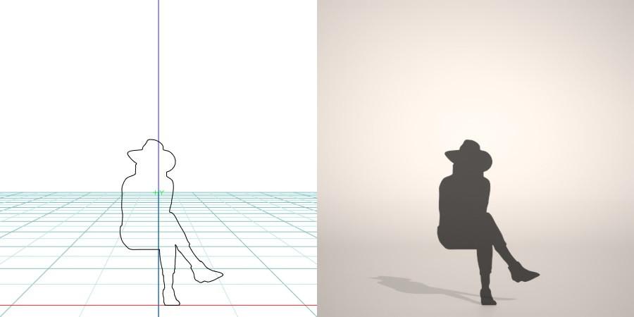 formZ 3D シルエット silhouette 女性 woman female lady 帽子 hut サブリナパンツ sabrina pants パンプス pumps 脚を組む 脚組 座る sit