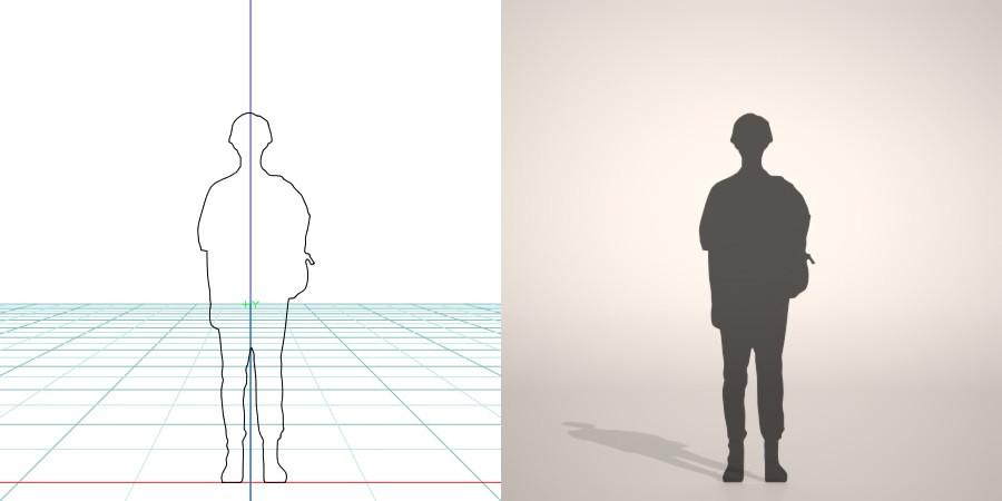 formZ 3D シルエット silhouette woman female lady バッグ bag カバン 鞄を肩にかけたショートヘアの女性