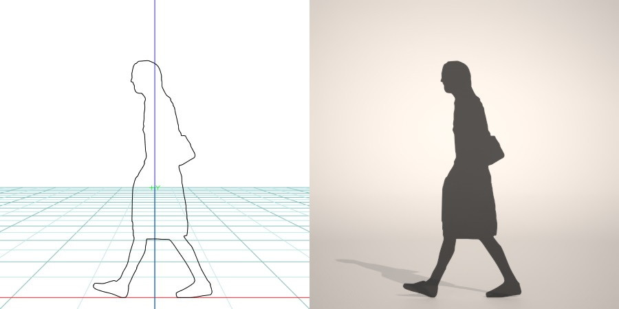 formZ 3D silhouette woman female lady skirt 肩掛け鞄 shoulder bag カバン ショルダーバッグを肩にかけて歩くスカートを穿いた女性のシルエット